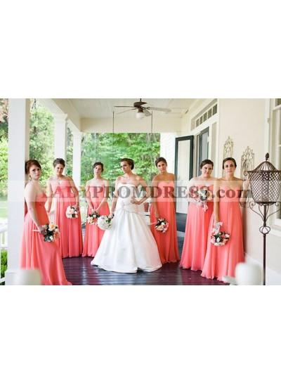 2021 Cheap A Line Chiffon Water Melon Strapless Long Bridesmaid Dresses / Gowns