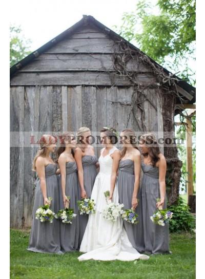 2021 Cheap A Line Grey Chiffon Strapless Ruffles Long Bridesmaid Dresses / Gowns