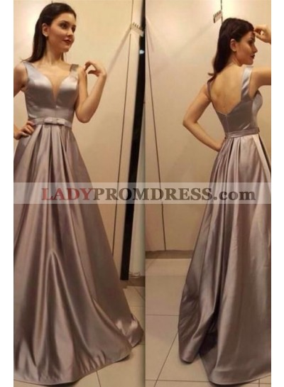 Princess/A-Line Satin Light Slate Gray Prom Dresses