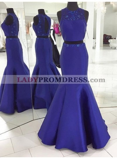 LadyPromDress 2018 Blue Prom Dresses Round Neck Beading Mermaid/Trumpet Satin Two Pieces