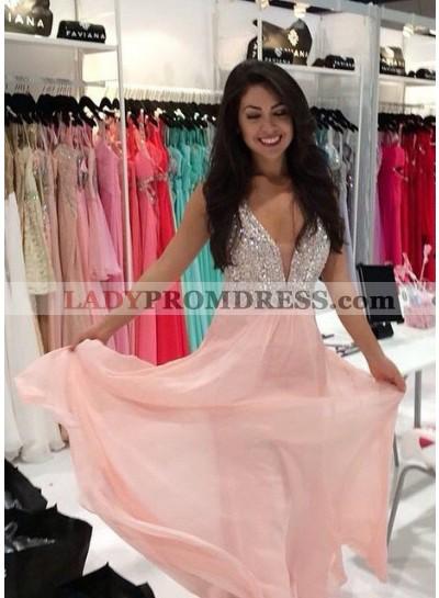 Beading A-Line/Princess Chiffon Prom Dresses 2019 Glamorous Pink