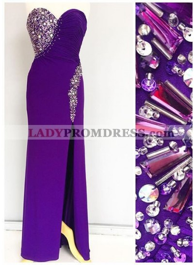Beading Front Split Column/Sheath Prom Dresses