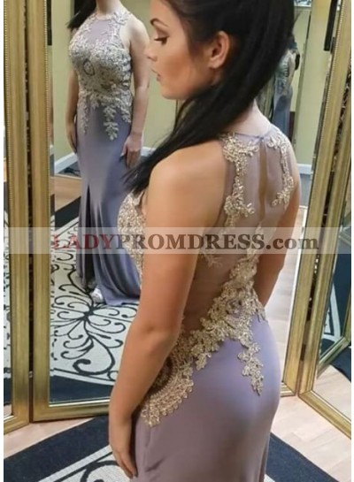 Illusion Appliques Front-Slit Stretch Satin Prom Dresses