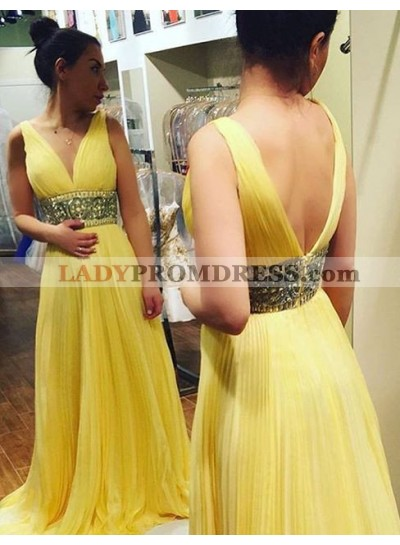 V-Neck Beading Backless Pleats A-Line/Princess Chiffon Yellow Prom Dresses