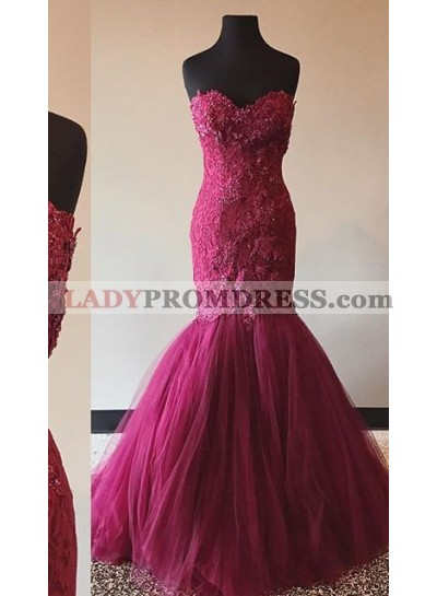 2019 Gorgeous Red Beading Appliques Sweetheart Mermaid/Trumpet Prom Dresses