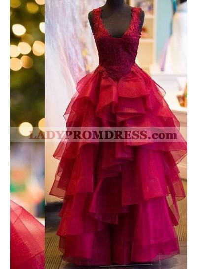 2019 Gorgeous Red V-neckline Appliques Straps Cascading Prom Dresses