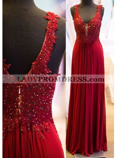 2018 Gorgeous Red Beading Appliques Straps Prom Dresses