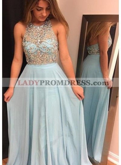 Light Sky Blue Beading Halter Chiffon Prom Dresses