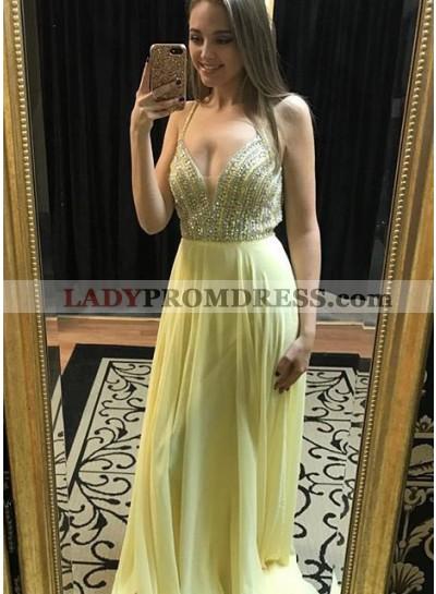 Beading Spaghetti Straps Chiffon Daffodil Prom Dresses
