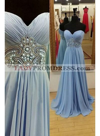 LadyPromDress 2018 Blue Prom Dresses Sweetheart Beading A-Line/Princess Chiffon