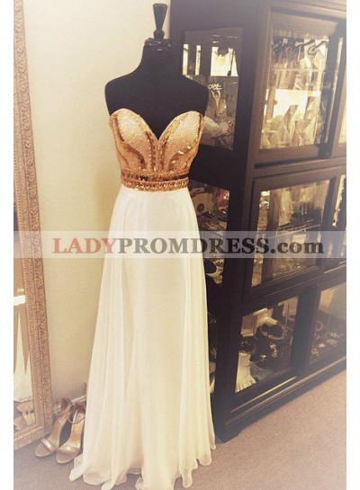 2018 Unique White Beading Sweetheart Chiffon Prom Dresses