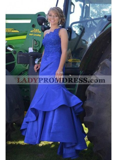 LadyPromDress 2019 Blue One-Shoulder Mermaid/Trumpet Satin Prom Dresses
