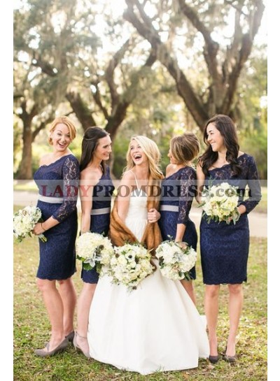 2021 Cheap A Line One Shoulder Dark Navy Lace Knee Length Bridesmaid Dresses / Gowns