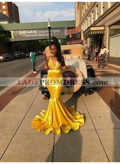 2021 Halter Yellow Mermaid Prom Dresses