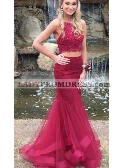 2021 Siren Mermaid/Trumpet Two Pieces Burgundy Tulle Prom Dresses