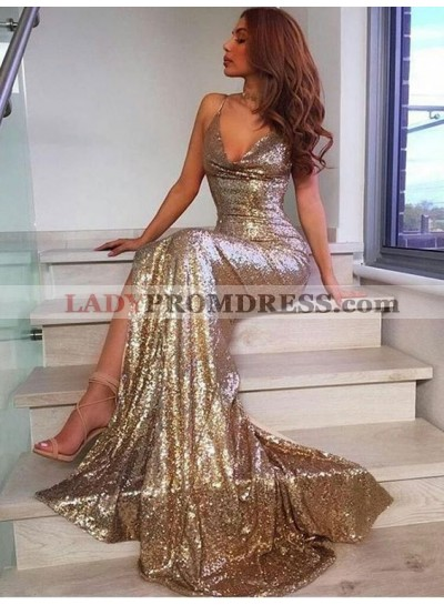 2019 Sexy Mermaid/Trumpet Sequence Gold Side Slit Prom Dresses