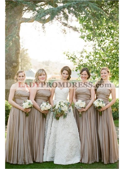 2021 Cheap A Line Chocolate Strapless Chiffon Long Bridesmaid Dresses / Gowns