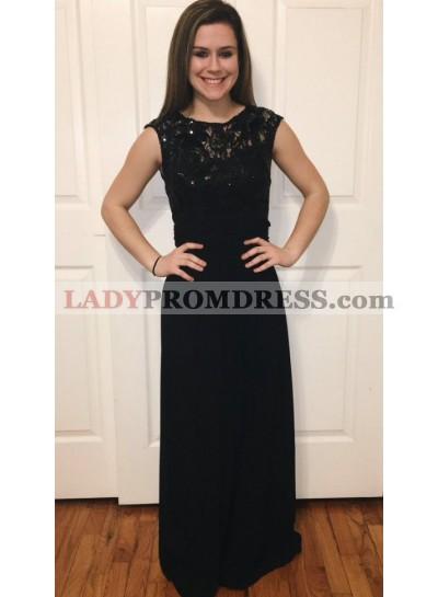 2019 Sexy Black Chiffon Floor Length Prom Dresses