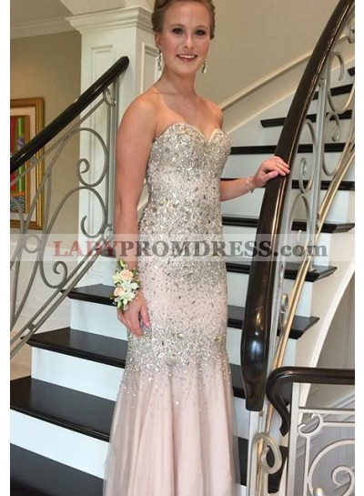 Beading Appliques Sweetheart Tulle Champagne Prom Dresses