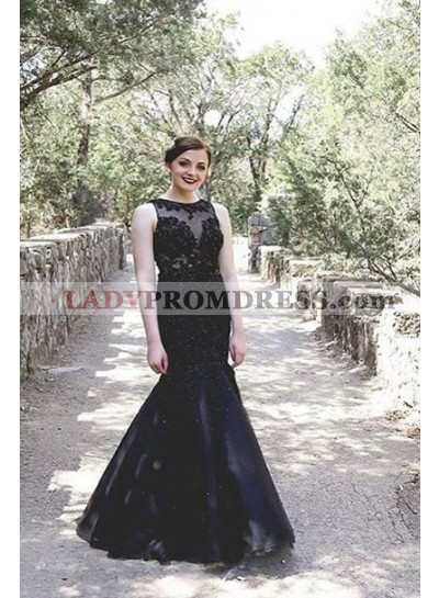 2019 Junoesque Black Illusion Appliques Mermaid/Trumpet Satin Prom Dresses