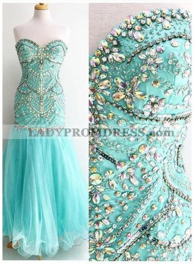 Beading Sweetheart Column/Sheath Tulle Prom Dresses