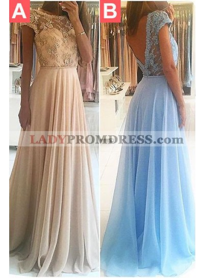 Appliques Backless A-Line/Princess Chiffon LadyPromDress 2020 Blue Prom Dresses
