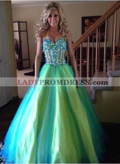 Halter Beading Ball Gown Tulle LadyPromDress 2019 Blue Prom Dresses