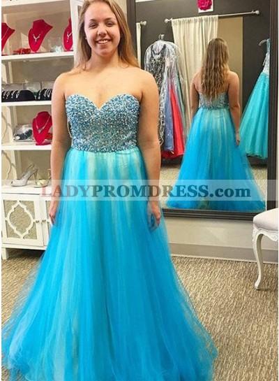 LadyPromDress 2018 Blue Prom Dresses Sleeveless Sweetheart Beading A-Line/Princess Tulle