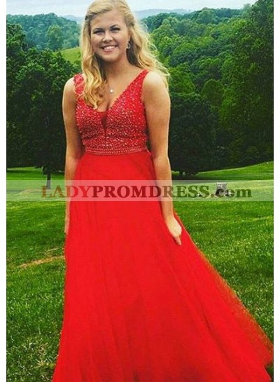 2019 Gorgeous Red Prom Dresses Sleeveless Beading A-Line/Princess Tulle