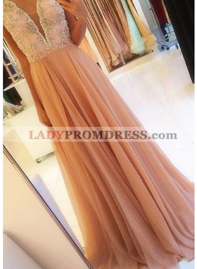 Beading Backless A-Line/Princess Chiffon Prom Dresses Champagne