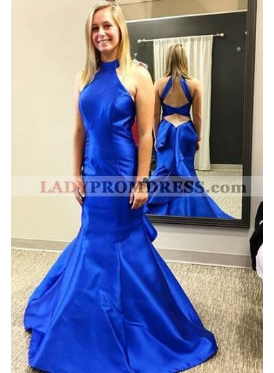 LadyPromDress 2019 Blue Halter Backless Mermaid/Trumpet Satin Prom Dresses