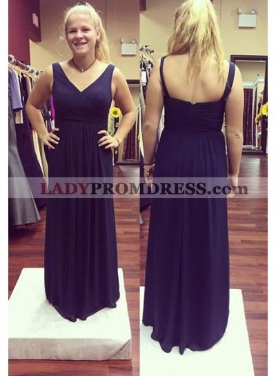 LadyPromDress 2019 Blue Prom Dresses Straps Empire Waist Chiffon