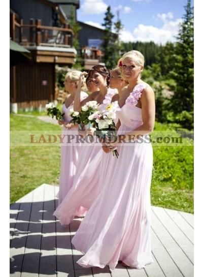 2021 Cheap A Line One Shoulder Floral Chiffon Pink Long Bridesmaid Dresses / Gowns