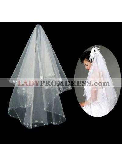 Elegant Elbow Wedding Veil With Embroidery Beading