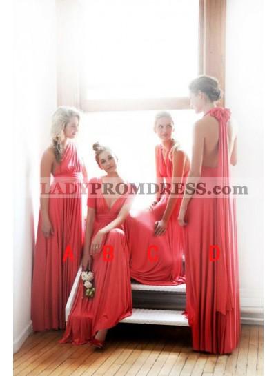 2021 Cheap A Line Chiffon Water Melon One Shoulder Long Bridesmaid Dresses / Gowns