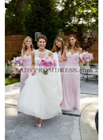 2021 Cheap A Line Chiffon Pink One Shoulder Long Bridesmaid Dresses / Gowns