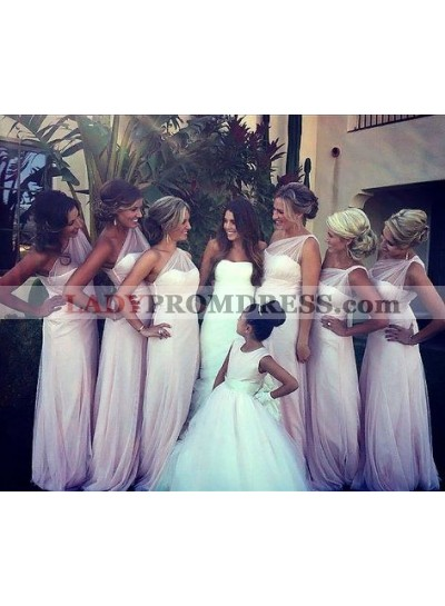 2021 Cheap A Line One Shoulder Pearl Pink Tulle Long Bridesmaid Dresses / Gowns