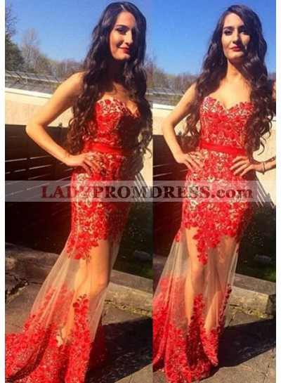 2019 Gorgeous Red Appliques Sweetheart Mermaid/Trumpet Tulle Prom Dresses