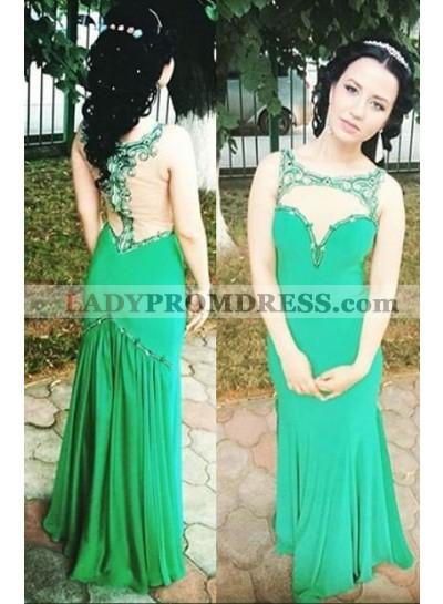 Beading Sheer Chiffon Prom Dresses