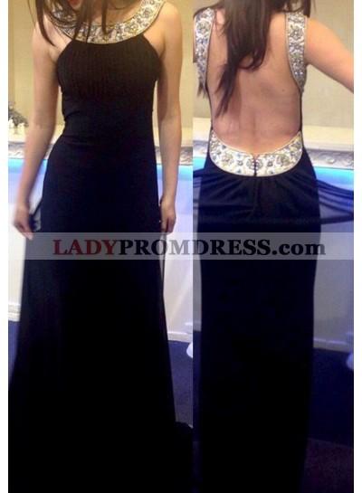 2018 Junoesque Black Open Back Beading Column/Sheath Chiffon Prom Dresses