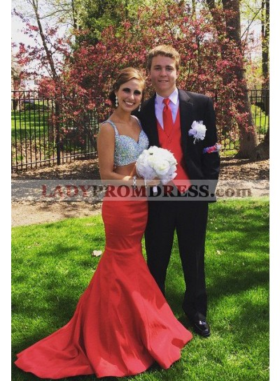 2019 Gorgeous Red Sequins Mermaid/Trumpet Satin Two Pieces Prom Dresses