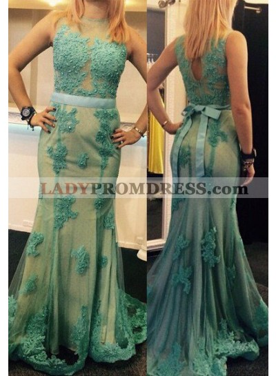 Appliques Round Neck Mermaid/Trumpet Tulle LadyPromDress 2019 Blue Prom Dresses