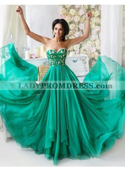 Embroidery Sweetheart A-Line/Princess Chiffon Prom Dresses