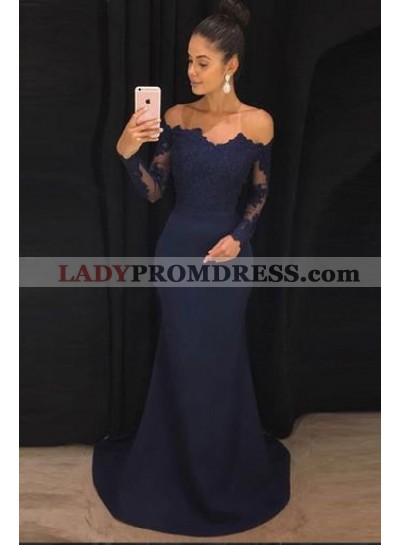2020 Siren Mermaid/Trumpet Long Sleeves Dark Navy Satin Prom Dresses