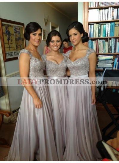 2019 Cheap A Line Gray Satin Beaded Long Bridesmaid Dresses / Gowns