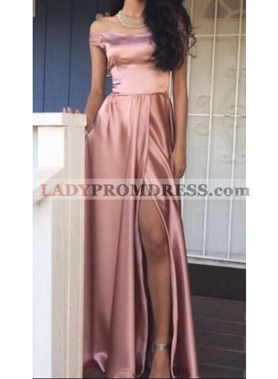 New Arrival Princess/A-Line Dusty Rose Satin Off The Shoulder Prom Dresses