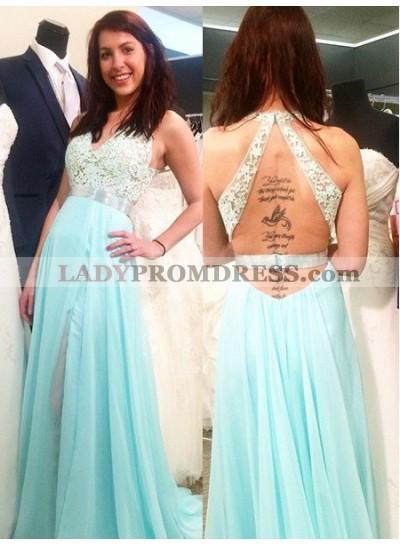 V-Neck Lace Spliced A-Line/Princess Chiffon LadyPromDress 2019 Blue Prom Dresses