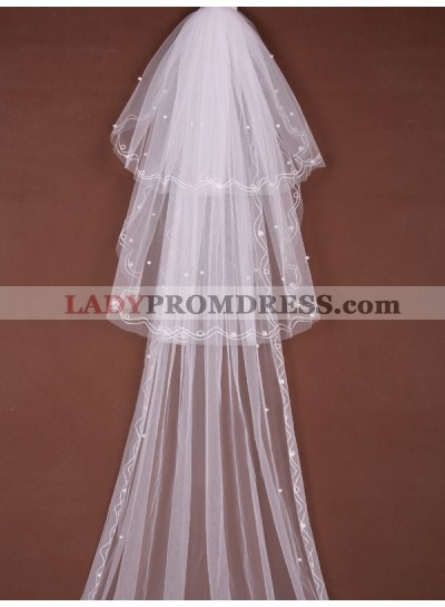 Great 3 Layer Cathedral With Beading Wedding Veil