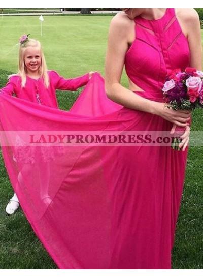 Round Neck Sleeveless A-Line/Princess Chiffon Prom Dresses