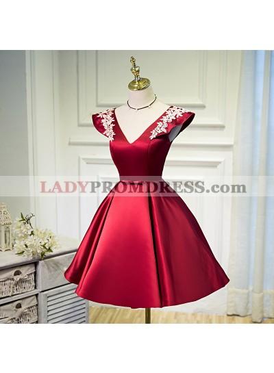 A Line Burgundy Satin V-neck Homecoming Dress / Short Prom Dresses